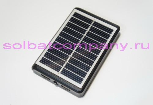 Мобильная зарядка на солнечной батарее 2xUSB 5V 1A с аккумулятором 9000mAh